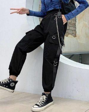 Gothic Women Black Cargo Pants Harajuku Punk Chain Trousers Female Hip Hop Mall Goth Streetwear Techwear Egirl Grunge Women's Techwear Cargo Pants Women's Techwear Pants Black Techwear Cheap Techwear Techwear Fashion & Clothing Techwear for Girls Techwear for Women