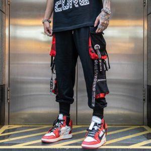 Hip Hop Joggers Men Letter Ribbons Cargo Pants Pockets Track Tactical Casual Techwear Male Trousers Sweatpants Sport Streetwear Men's Techwear Cargo Pants Men's Techwear Pants Black Techwear Techwear Fashion & Clothing Techwear for Boys Techwear for Men