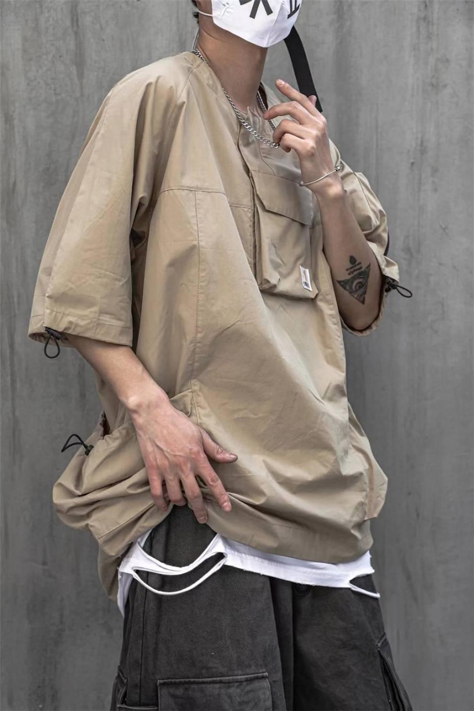 11 BYBB'S DARK 2021 Hip Hop T Shirt Men Summer Multi Pockets Oversize Tshirts Streetwear Functional Harajuku T-Shirt WB122