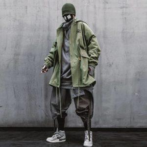11 BYBB'S DARK Black Cargo Windbreaker Jackets Streetwear Men Flower Embroidery Jacket Hooded 2021 Loose Coats WB076