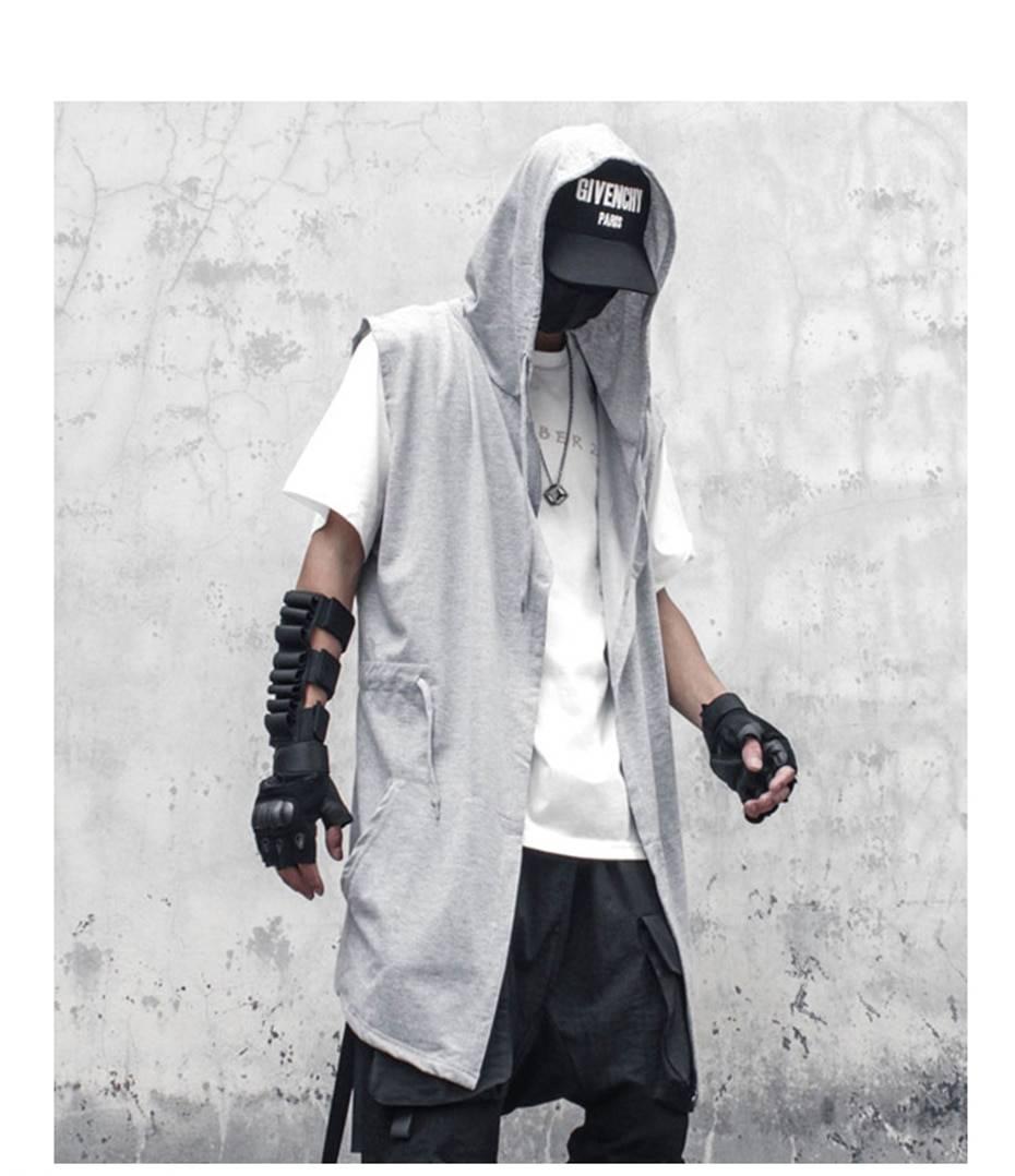 11 BYBB'S DARK Black Hooded Wizard Vest Coat Men 2021Autumn Summer Sleeveless Jacket Casual Men Coat Techwear WB184