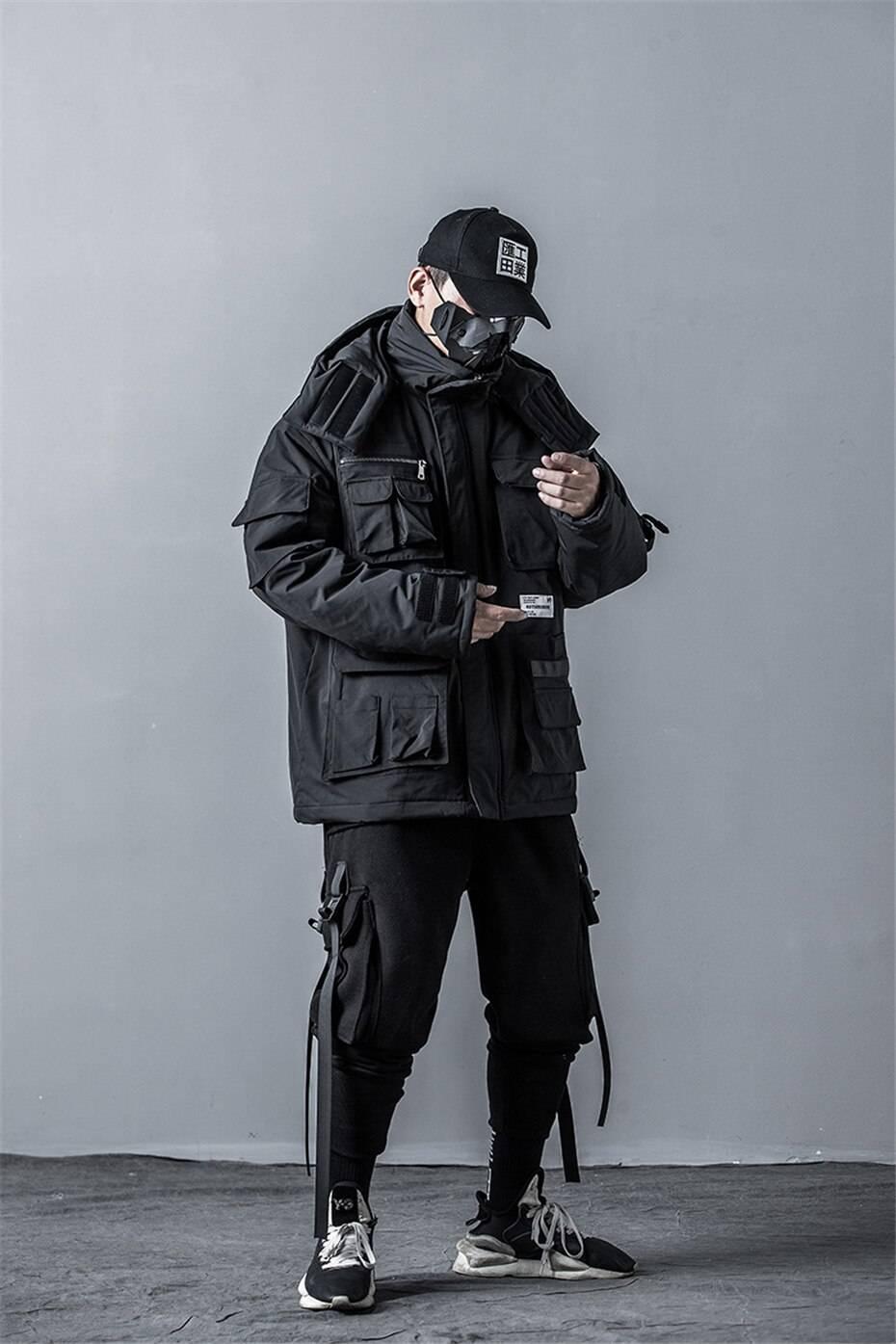 11 BYBB'S DARK Mens Winter Jackets Coat Streetwear Casual Cargo Parkas Tactics Function Hoody Coat Multi-pocket Warm Male DG506