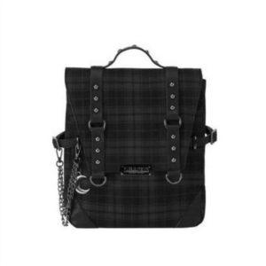 2021 Plaid Gothic Punk Rock Chain Backpack Women Techwear Goth Gothic Sac A Dos Mochilas School Bags For Teenage Girls Bagpack