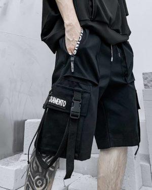 2021 Summer Shorts Cargo Pants Men Harajuku Fashion Streetwear Hip Hop Punk Male Trousers Ribbon Techwear Sport Military Clothes