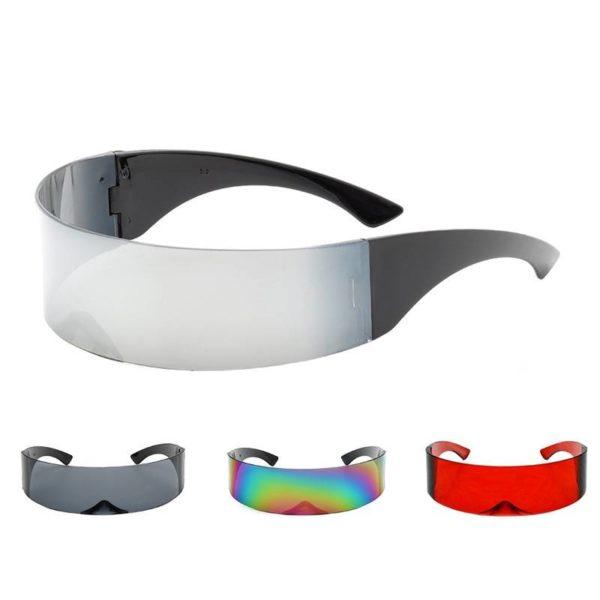 Cyberpunk Party Glasses Visor Wrap Shield Large Mirror Sunglasses Riding Windproof Glasses Fashion Personality Glasses