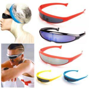 Futuristic Cyclops Sunglasses Plastic Color Mirrored Single Lens Visor Cosplay Women Men Party Eye Glasses Big Frame Shield Visor
