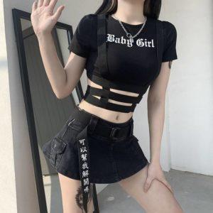 Gothic Crop Top T-Shirt Women Sexy Punk Club Tshirt Goth Streetwear Y2K Harajuku Tee Techwear