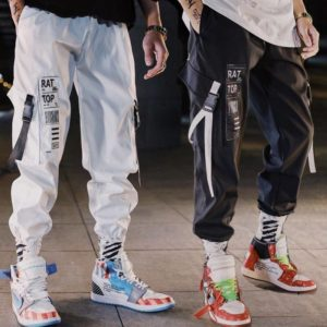 Hip hop Streetwear Men Harem Cargo Pants Korean Jogger Sweatpants Solid color Black White Ankle Length Trousers White Techwear
