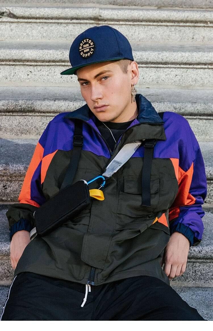 Men's Colourful Techwear Hooded Windbreaker Jacket