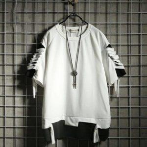Oversized Techwear T Shirt Streetwear Ripped Hole Vintage Hip Hop T Shirt False Two Loose Short Sleeve Summer