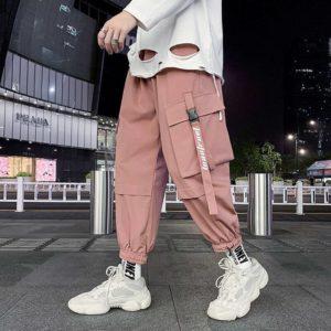 Pink Pastel Techwear Cargo Pants Men Joggers Sweatpants Oversize 5xl Plus Size Clothing Techwear Ankle-length Harem Trousers