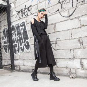 Streetwear Women Spring Pocket Wide Leg Pants Casual Elastic Waist Loose Calf -length Pants 1010