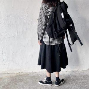 Techwear Alternative Black Backpack Unisex Harajuku Pocket Buckles Tour Bag