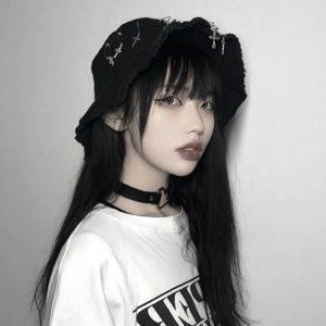 Techwear Black Bucket Hat with Cross Pins