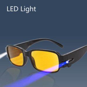 Techwear LED Light Reading Glasses Clear Occhiali Da Lettura Diopter Night Presbyopic Glasses