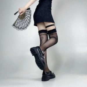 Y Demo Gothic Sexy Spider Web Women Lolita Elastic Stockings Heart Pattern Harajuku Hollow Out Punk Black Long Stockings