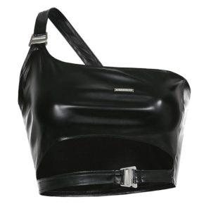 Black Techwear Leather Top
