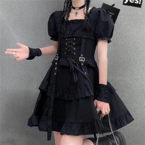 Y Demo Gothic Women Dress O Neck Short Sleeve High Waist Ruched Ruffles Lolita Strap Dresses Female Fashion Clothing 2020