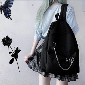 Y Demo Harajuku Punk Canvas Women Backpack Preppy Style Hollow Out Circles Chains Black Bag Techwear Tide