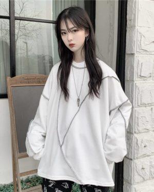 Y Demo Harajuku Streetwear Women Long Sleeve T-shirt Casual O-neck Irregular Patchwork Sweatshirt Oversized Fleece