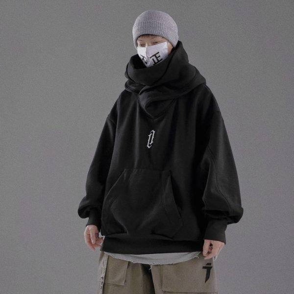 11 BYBB'S DARK 2021 Ninja Double Neckline Cotton Pullover Techwear Harajuku Men Hoodie Hip Hop Streetwear Hoodies Sweatshirts