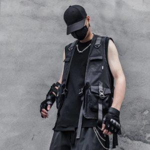 11 BYBB'S DARK Men Multifunction Tactical Sleeveless Cargo Vests Streetwear Buckle Ribbons Multi Pockets Vests Techwear Overalls
