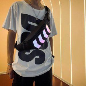 2019 Chest Bag for Men Waist Bag Canvas Fanny Pack Boy Street Reflective Crossbody Pack Casual Travel Bags Hip Hop Shoulder Pack