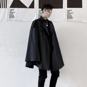 2021 Autumn Double Breasted Men's Cape-type With Sleeves Windbreaker Coat Cloak Black Mid Length Oversized Trench