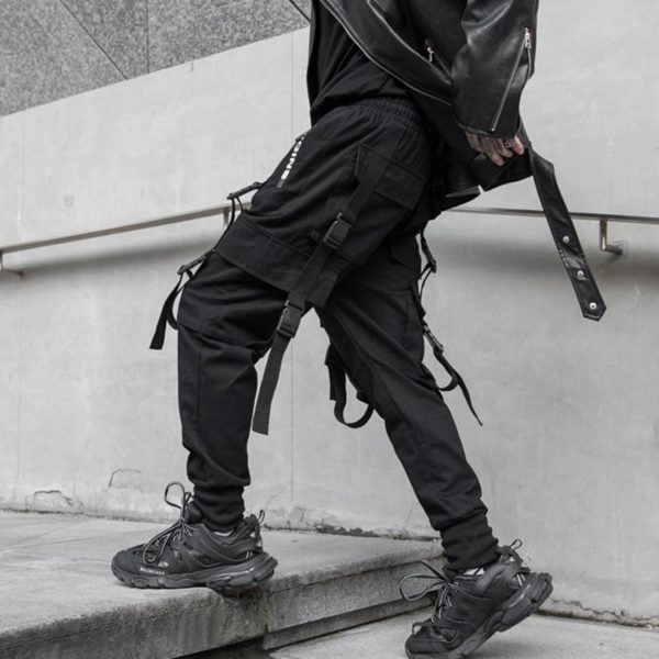 2021 Autumn Side Zipper Pockets Ribbons Men's Jogger Trousers Cotton Hip Hop Streetwear Sweatpants Pencil Pants Black