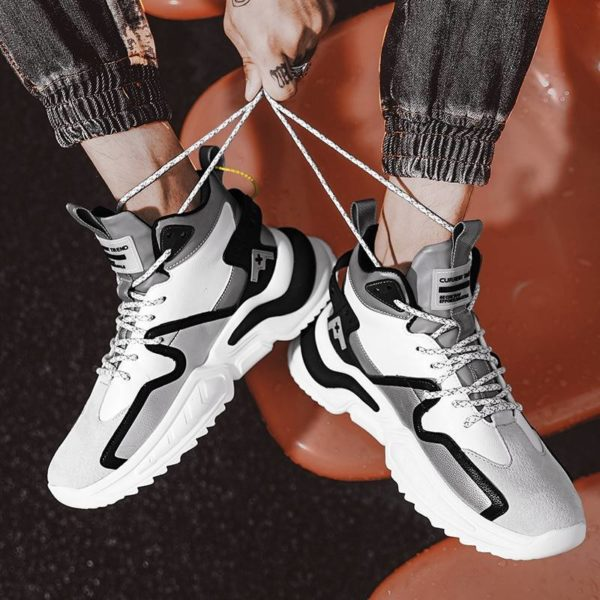 2021 Fashion Breathable Reflective Male Chunky Sneakers Lace-Up Designer Shoes Men High Top High Quality Casual Men's Shoes