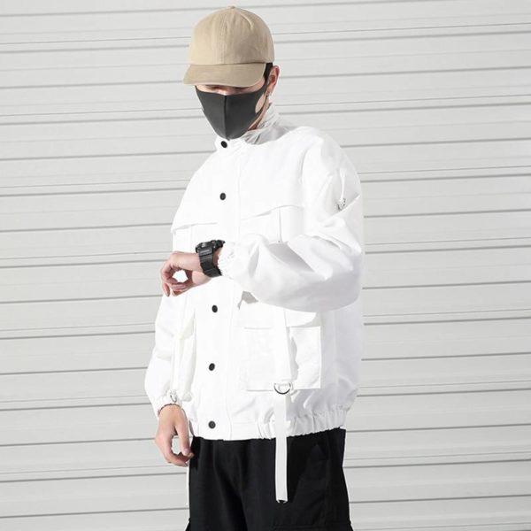 2021 Men Military Jacket Coats Casual Windbreaker Ribbons Pockets Men's Overalls Bomber Jacket Hip Hop Streetwear Man Outwear