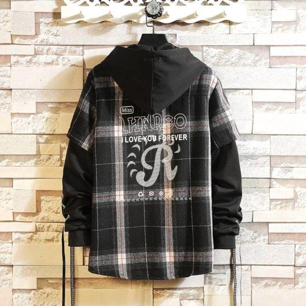 2021 New Arrived Plaid Hoodie Sweatshirt Men Flannel Fleece Style Hip Hop High Street Casual Cardigan Long-Sleeved