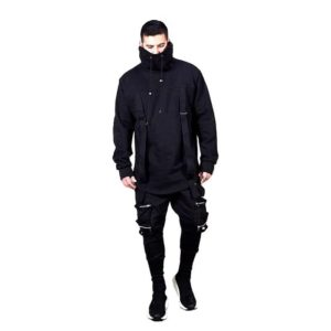 2021 Spring Trend New High-neck Mens Sweatshirt Dark Black Long Loose Assassin Sweatshirt EUR SIZE M-XXL