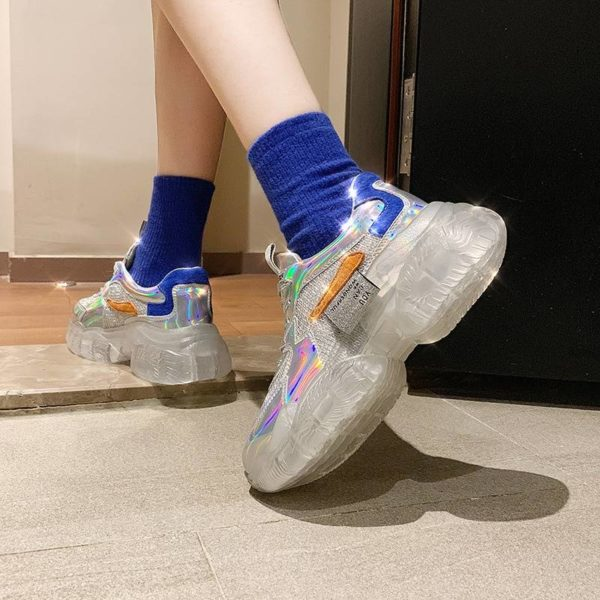2021 Spring Trend Women Transparent Sneakers Harajuku Platform Woman Shoes Laser Jelly Casual Shoes Shining Shoes Running Shoes
