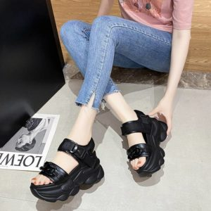 2021 Summer Wedges Sandals 9cm Ladies Beach Slippers High Heel Sandals Women Casual Shoes Platform Chunky Shoes Sandalias Mujer