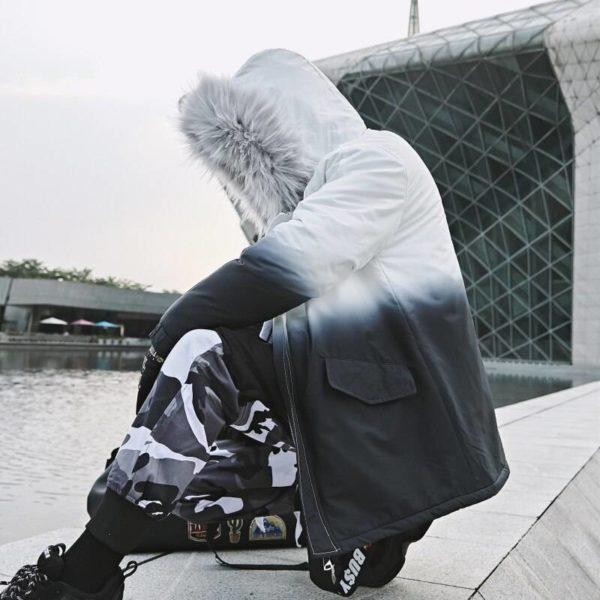 2021 Winter Warm Gradient Parkas Men Women Streetwear Thick Jackets Coat Fashion Harajuku Hoody Fur Collar Coats