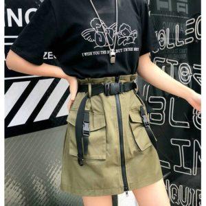 A Line Zipper Women Mini Cargo Skirts Pockets Sashes Slim Solid Ladies Short Skirt 2021 Summer Sexy Black Khaki Bottom Female