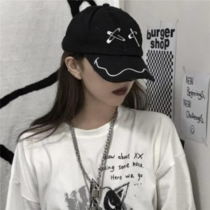 AltGirl Harajuku Punk Gothic Baseball Cap Women Streetwear Y2k Vintage Emo Alternative Grunge Pin Hole Adjustable Caps Unisex