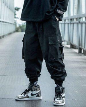 Black Cargo Pants Men Hip Hop 2021 Pants Mens Autumn Harem Pant Streetwear Harajuku Jogger Sweatpant Cotton Trousers Male Pants
