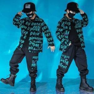 Boy's Letters Print Techwear Jacket and Cargo Pants Set