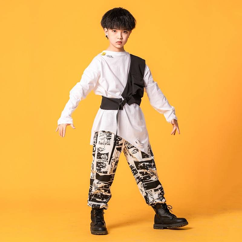 Boy's Manga Print Techwear Shirt and Jogger Pants Set