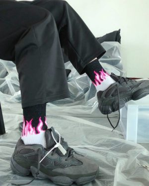 Burning flame socks men and women cotton European and American street hip hop Harajuku couple skateboard white Novelty socks