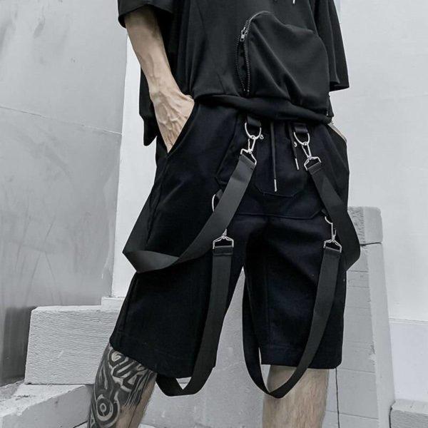 Cargo Shorts Men 2021 Summer Cotton Knee Length Ribbons Black Casual Men Short Pants Streetwear Hip Hop Shorts Man Joggers