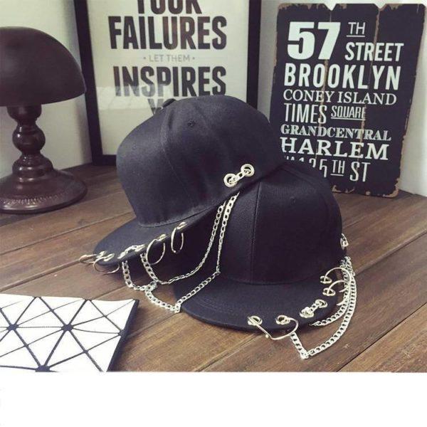 Cotton Pierced Baseball Cap with Chains