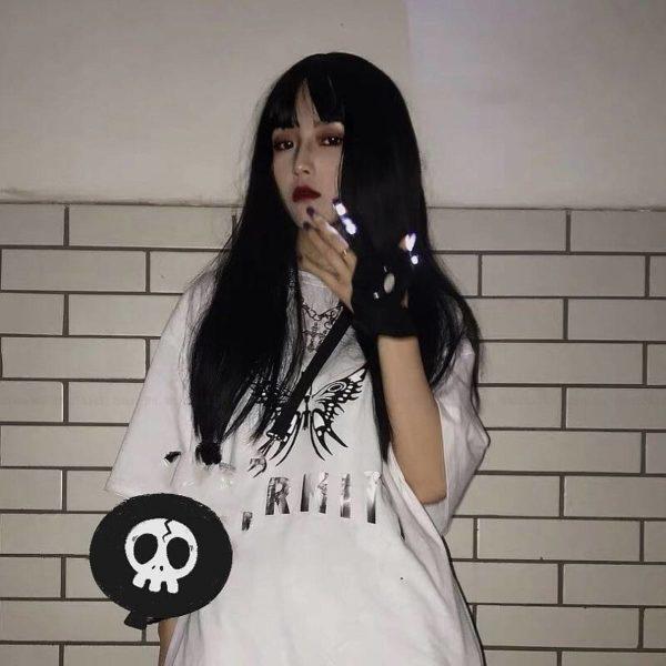 Couples Japanese Harajuku Style LED Light Gloves Korean Fashion Streetwear Women Men Gothic Half-finger Finger Cover Party Props