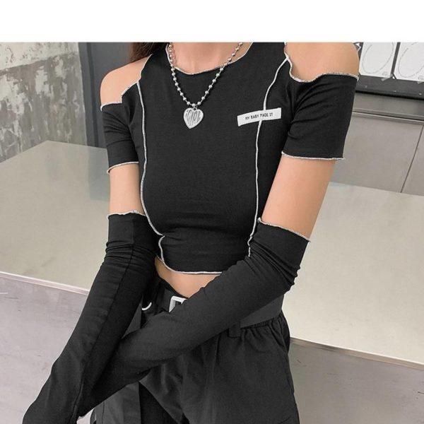 E-girl Gothic Y2k Techwear Crop Top + Sleeves