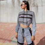 Eversea Sport Style Matching Set Reflect Light Cool Streetwear Fashion Causal Contrast Color Two Pieces