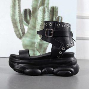 Fashion Wedges Shoes For Women Sandals 7.5CM High Heels Summer Shoes 2020 Aussures Femme Leather Platform Sandals White shoes