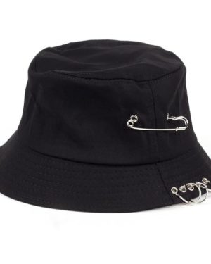 Fishermen Caps Solid Color Iron Pin Rings Personality Bucket Hat Cap for Unisex Women Men Cotton Factory Sells Directly