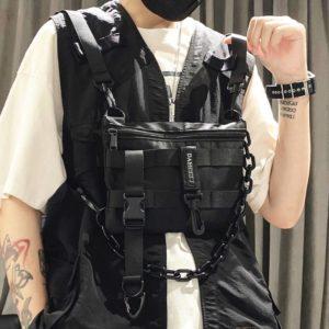 Functional Tactical Chest Bag For Men Fashion Bullet Hip Hop Vest Streetwear Bag Waist Pack female Black Wild Chest Rig Bag